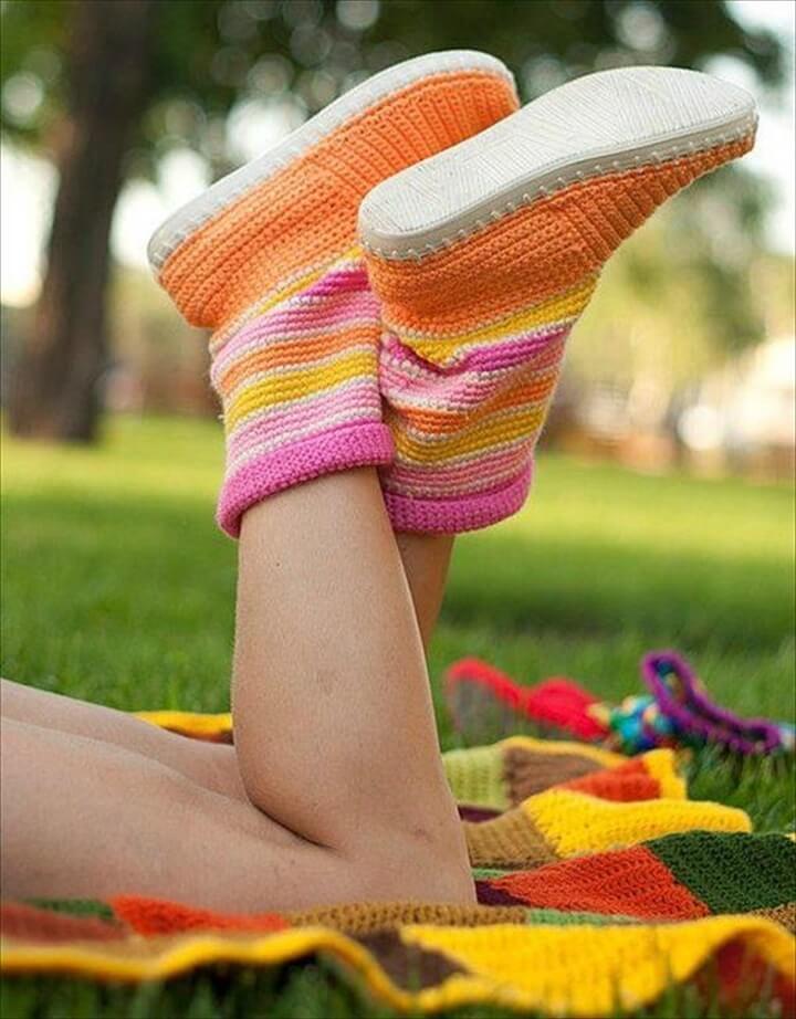 DIY Easy Crochet Boot Slippers