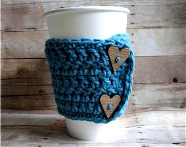Wooden Heart Button And Blue Mug Warmer