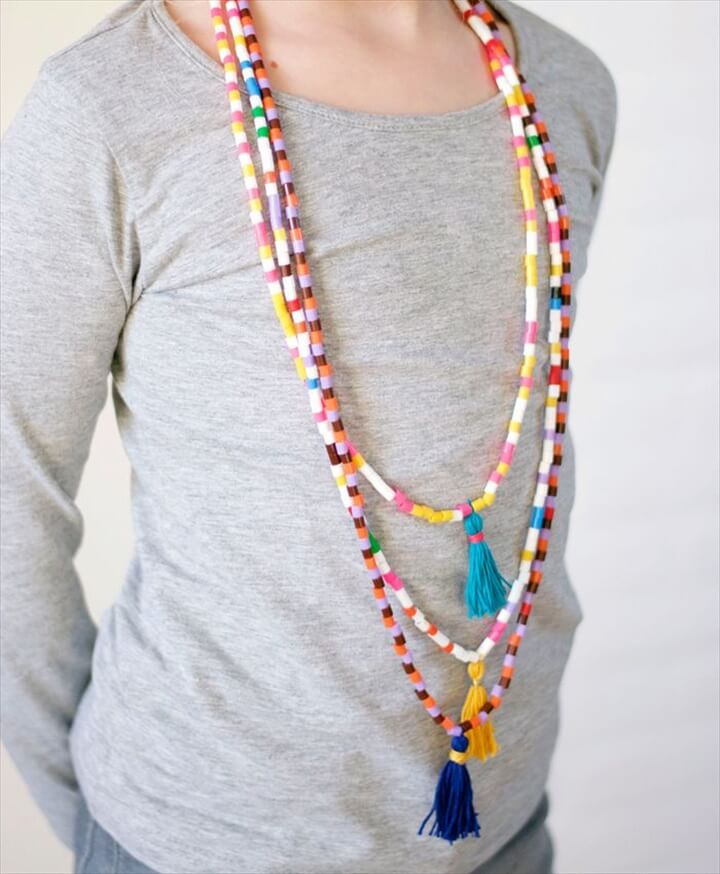 DIY Hama bead and tassel necklace