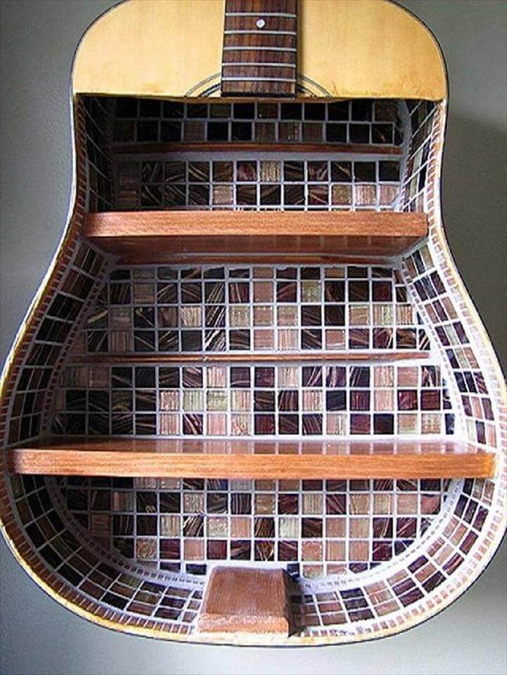 This guitar shelf has a gorgeous mosaic pattern.
