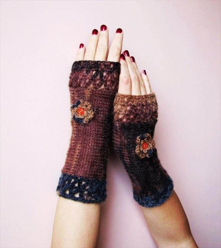 cute crochet fingerless gloves