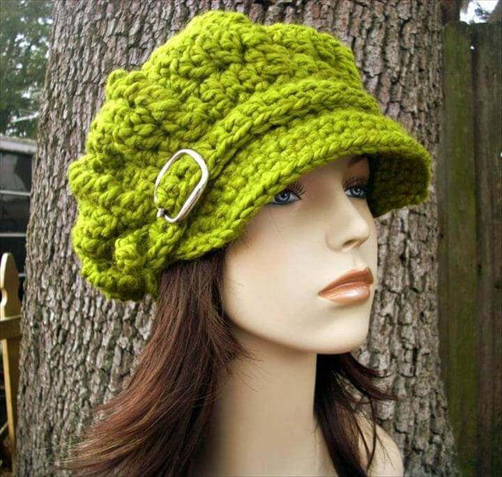 Hand Crocheted Hat Womens Hat - Monarch Ribbed Crochet Newsboy Hat in .
