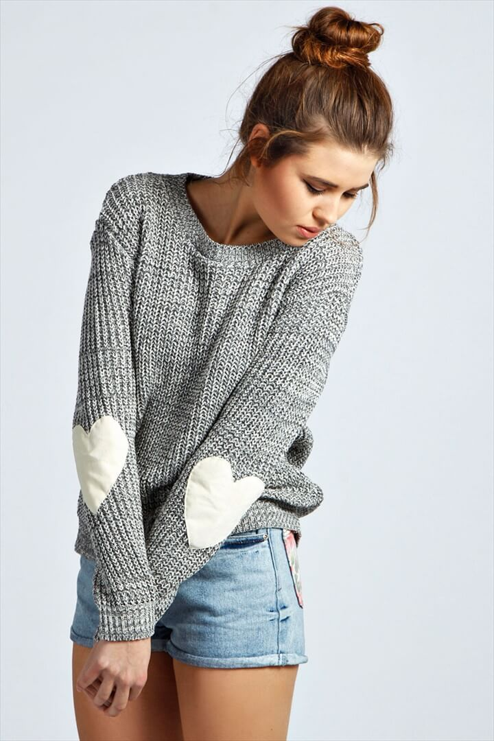 Harper Heart Elbow Patch Jumper - grey, grey, Online Shopping, Women's .