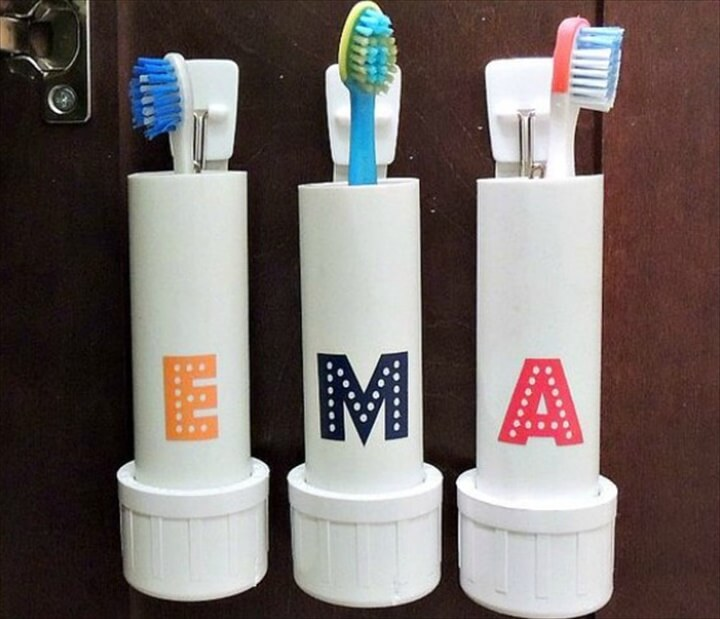 There is one thing in my bathroom that really bothers me and it has motivated me to try a DIY project. I don't have a toothbrush holder. I just put my toothbrush in a small kitchen glass and put the toothpaste on the (almost non-existent) counter. I decided that I could do something about this and set out to come up with an easy idea that didn't involve a store-bought toothbrush holder.