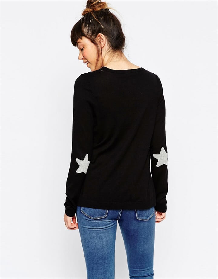Jumper With Grey Star Elbow Patch