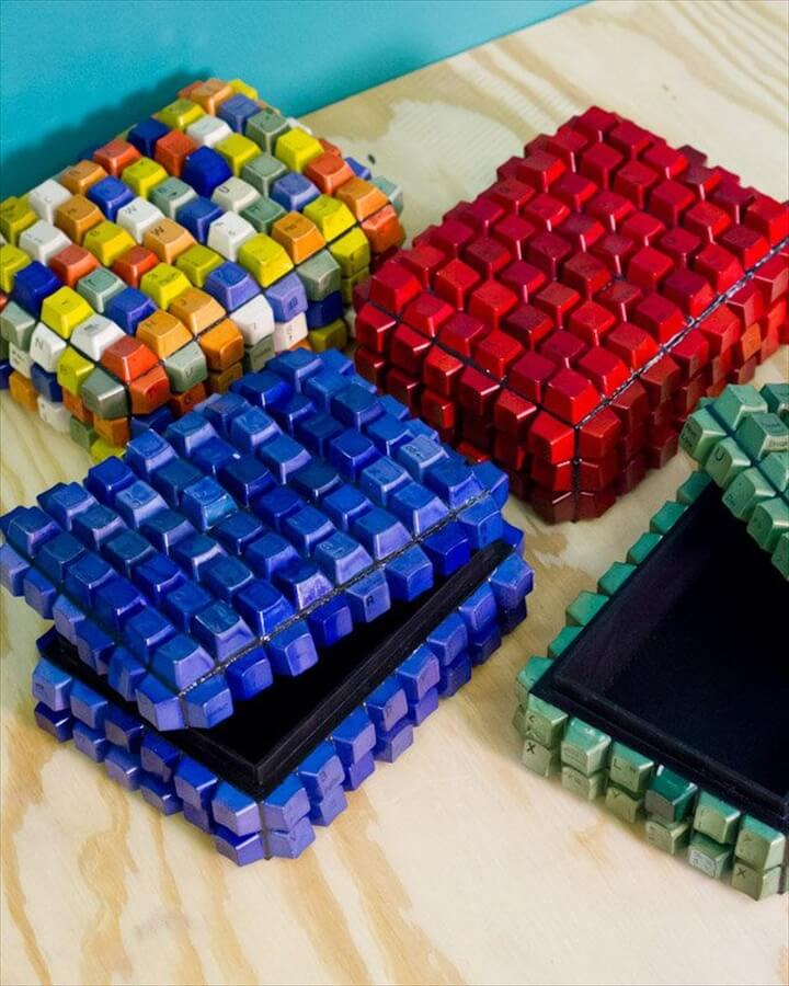 Keyboard recycled art boxes.