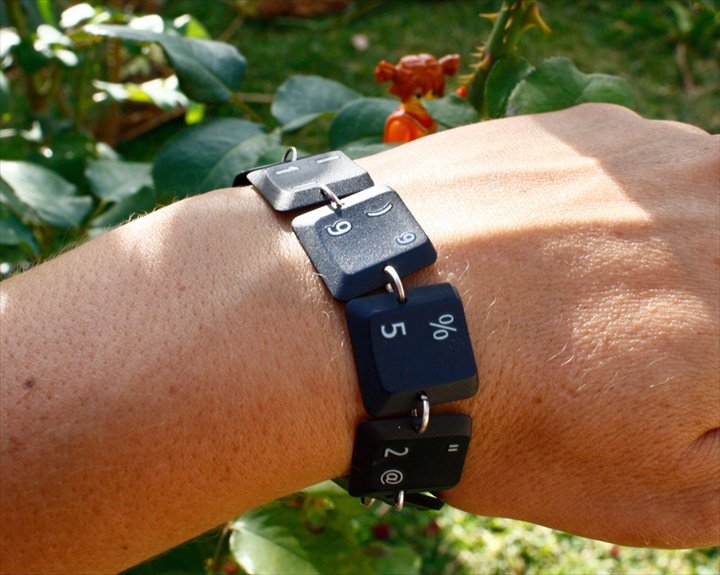 Recycled computer laptop parts, keyboards jewelry, cuff bracelet. Upcycled, Eco friendly adornments
