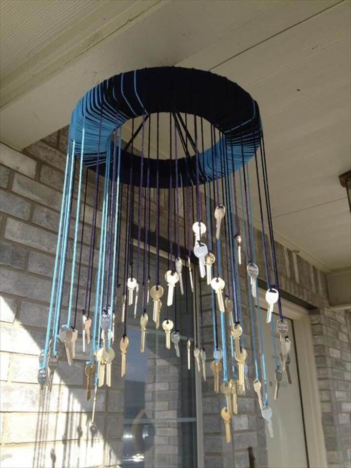 Make your own wind-chime out of a styrofoam circle, yarn and old keys