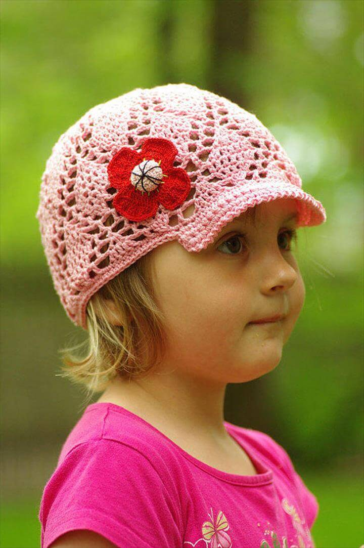 Kids pink crochet summer visor hat, handmade sunhat, girls baseball hat, girls sunhat