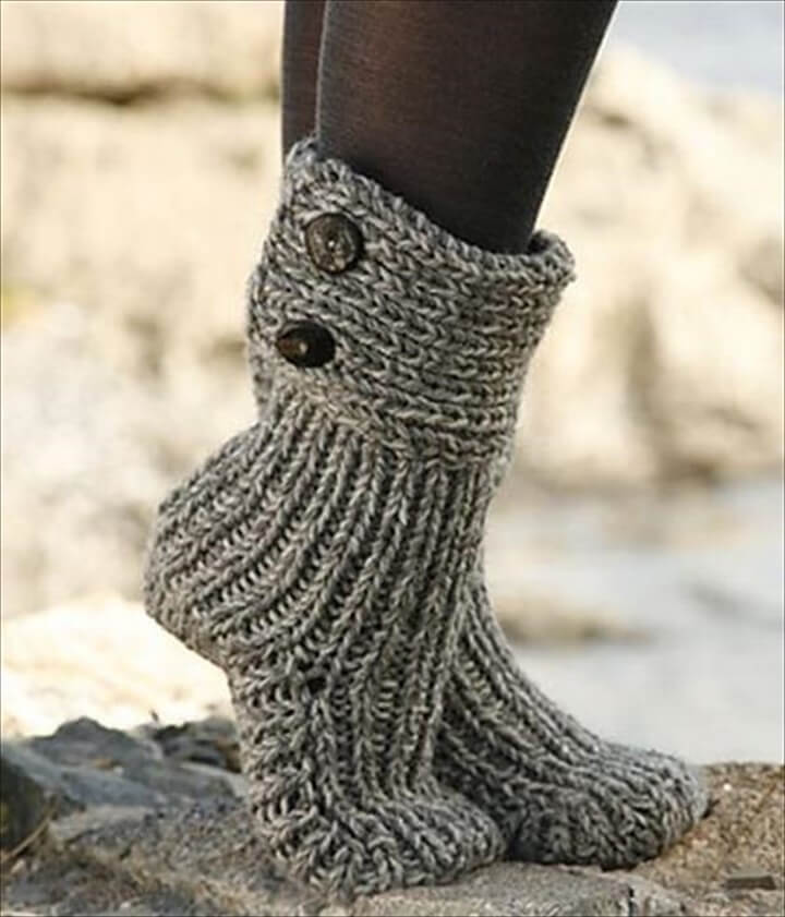 DIY Dark Gray Crochet Slipper Boots
