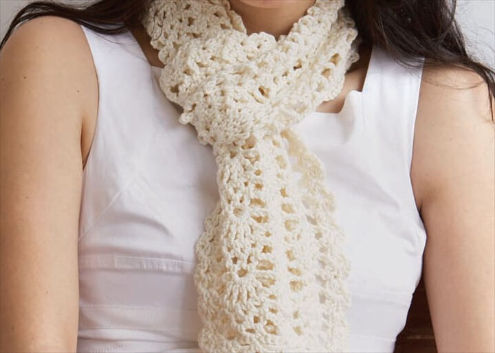 Lace Crochet Scarf: Sweet Lorraine Lace Scarf by Doris Chan