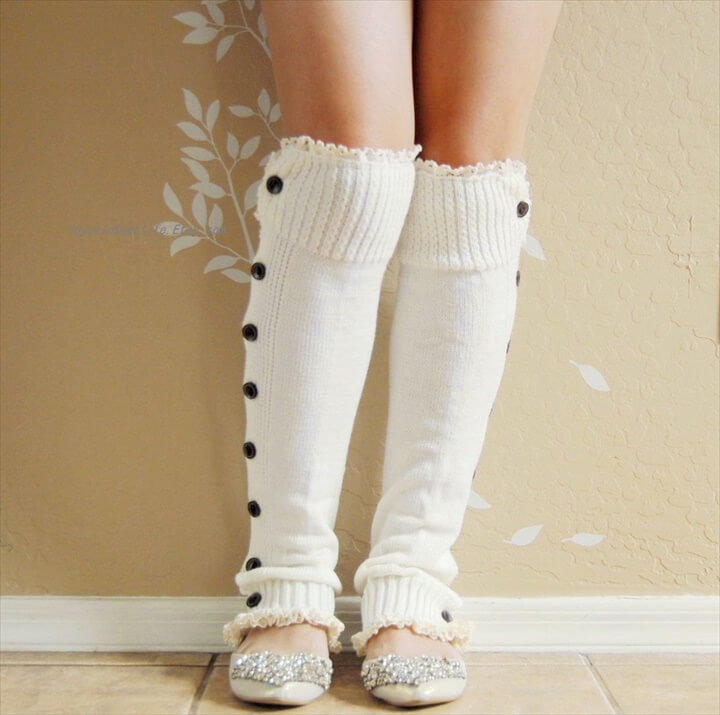 ... Ivory white lacy Leg warmers.boots leg warmers with cute double lace