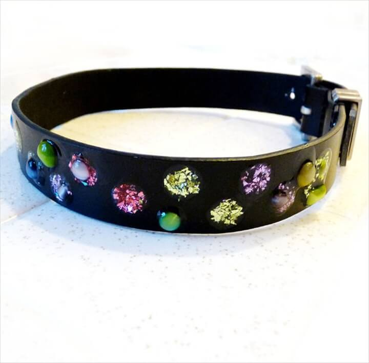 """Jeweled"" Dog Collar from an Old Belt"