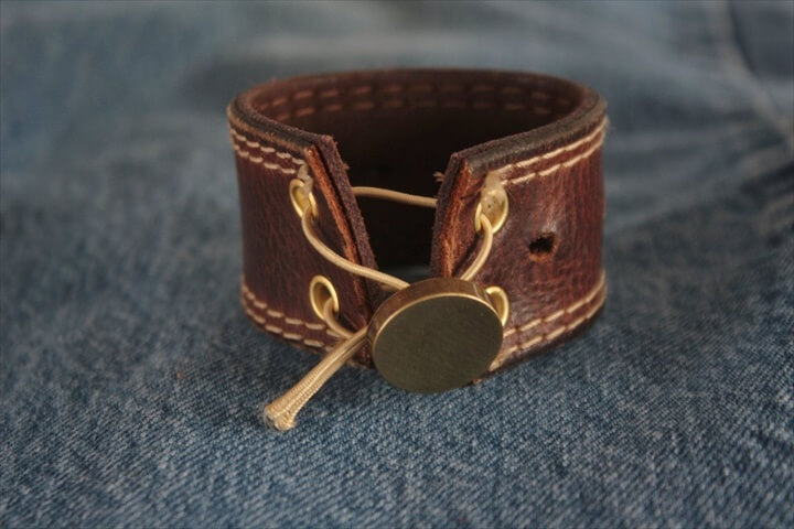 Upcycled Belt Leather Cuff-Silverware