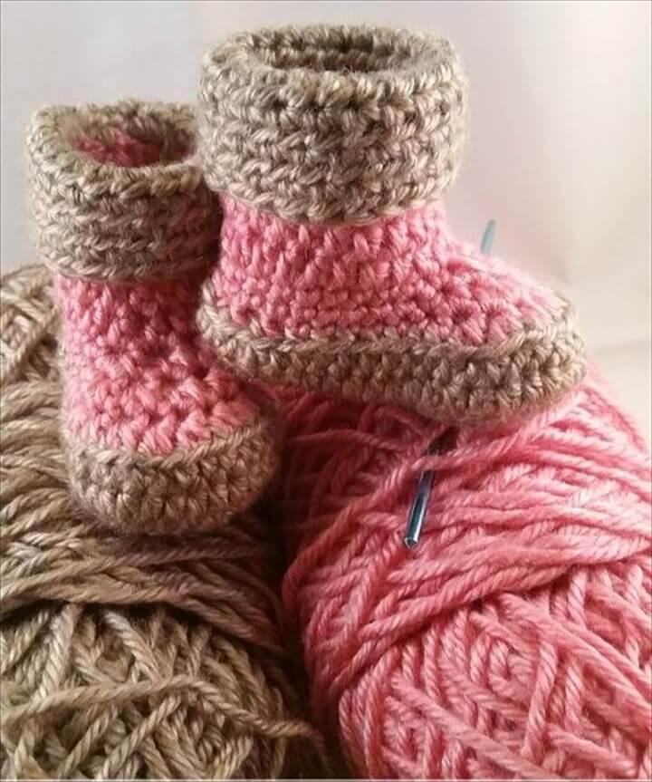 Little Girls Warm Winter Crochet Boots
