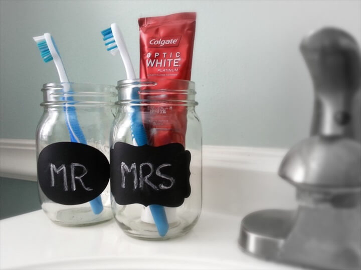 Mr & Mrs mason jar toothbrush holders