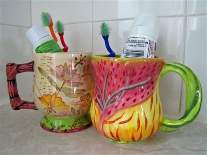toothbrush holder ideas tea cups decorated DIY