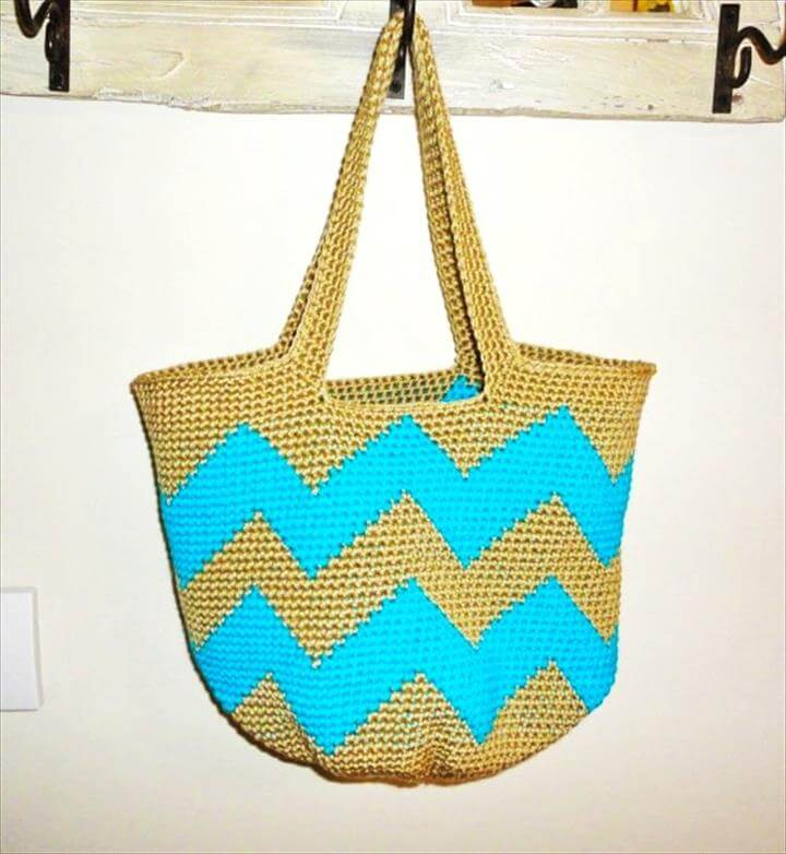 Neon Blue Chevron Stripe Crochet Tote Bag