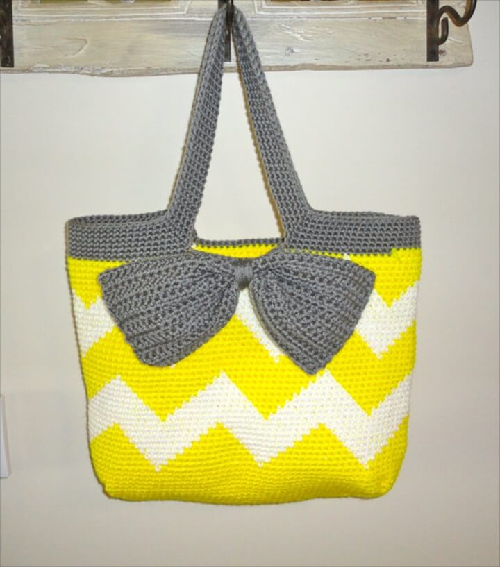 Neon Yellow Chevron Stripe Crochet Tote Bag - Neon Yellow and White