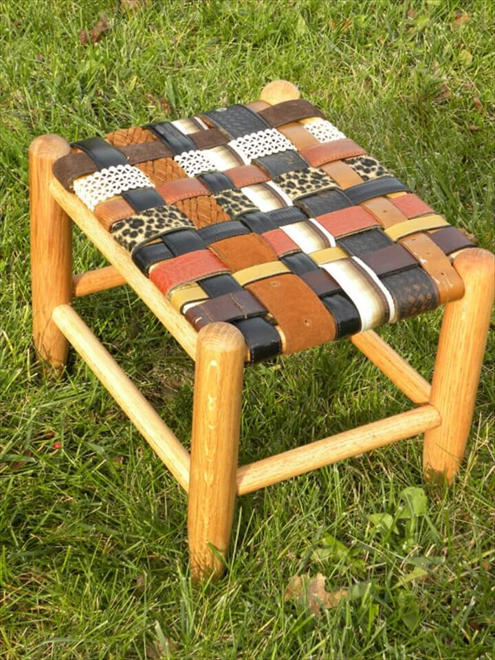 Wooden Stool Rebuilt With Old Leather Belts