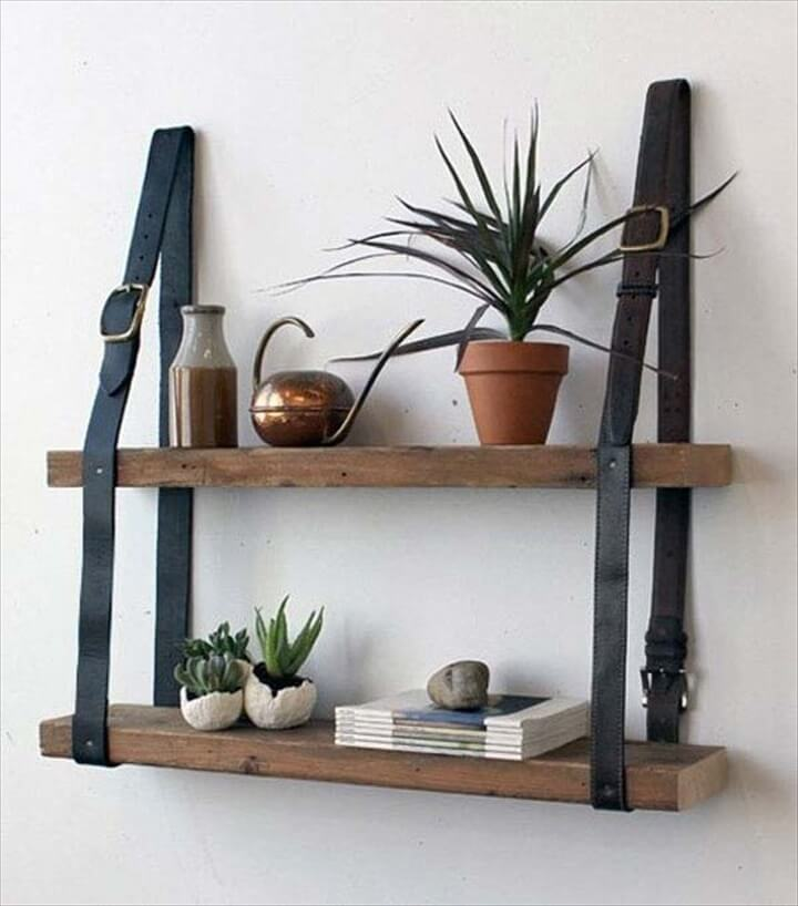 display shelf for your sunglasses or for other things. You can make it from a drawer or from other box-like structure and one or two leather belts.