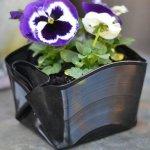 folded vinyl record plant pot