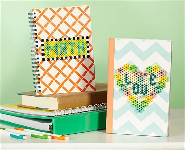 Adding Perler bead designs to school notebooks or journals is a fun way to go from