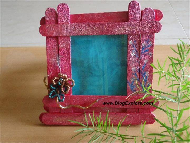 popsicle stick photo frame, craft stick photo frame, diy photo frame .