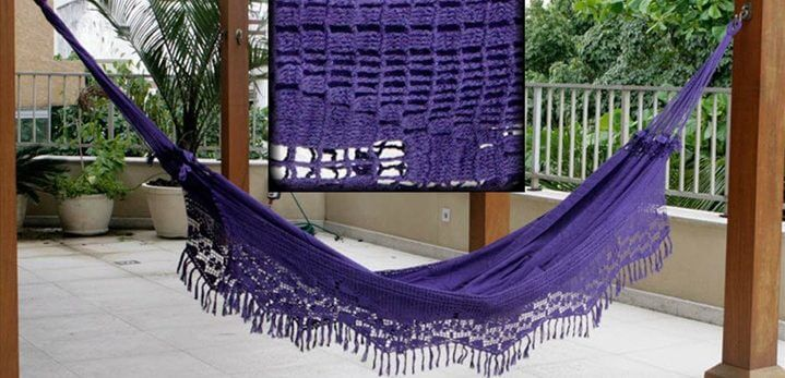 This blue and white hammock is sold by Amacando, an Italian company that also has an Etsy store.