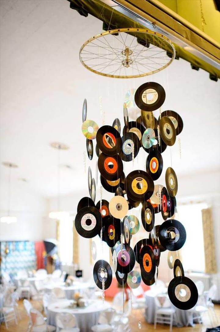 a hanging mobile to show off your favorite artist's singles.