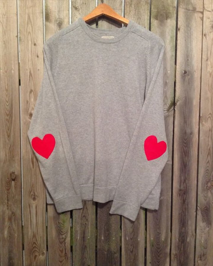 Hipster sweater with heart elbow patches