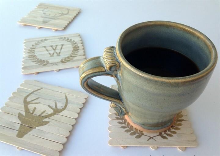 DIY Rustic Wood Craft Stick Coasters