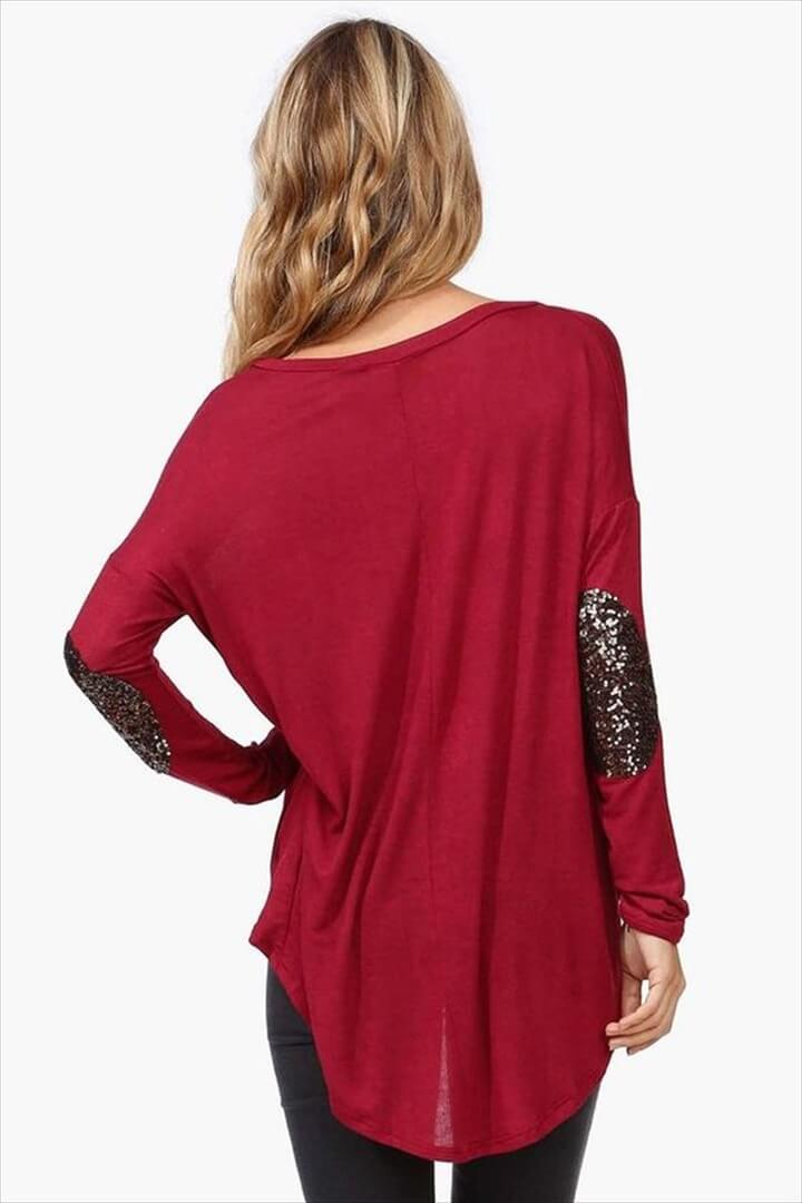 maroon high low sweater w/ sequin elbow patches