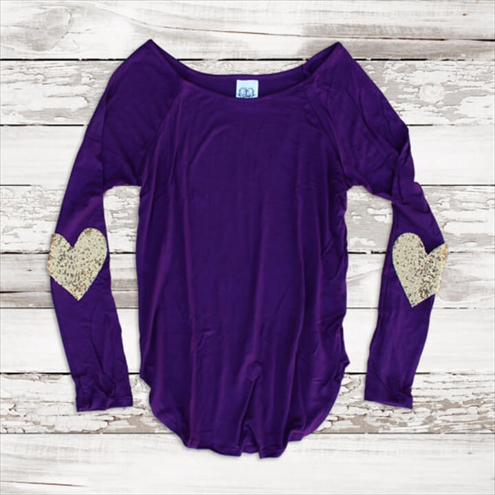 Valentines Day Shirt Sequin Heart Elbow Patch Top Slouchy Pullover T Shirt Gift Idea for Her
