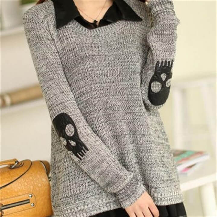 Skull Patch Chiffon Spliced Sweater