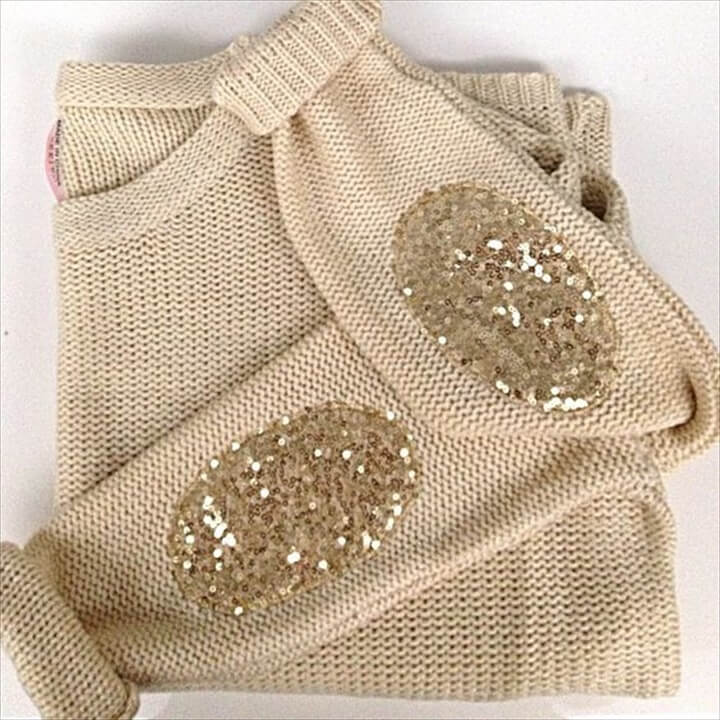 Sweaters with sparkly elbow patches