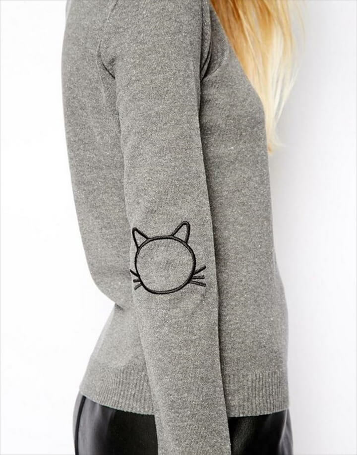 Sweater With Cat Elbow Patches