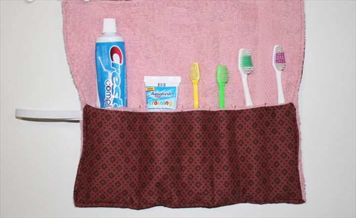 This toothbrush holder will hold 4 toothbrushes and 2 tubes of toothpaste.