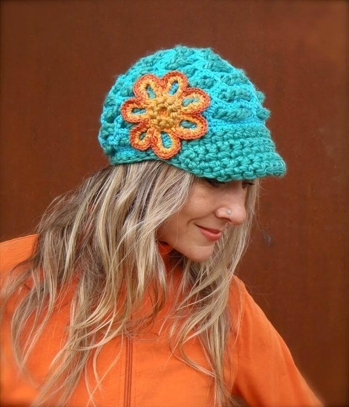 Turquoise SLOUCHY beanie crochet Slouch Visor hat Orange FLOWER cap