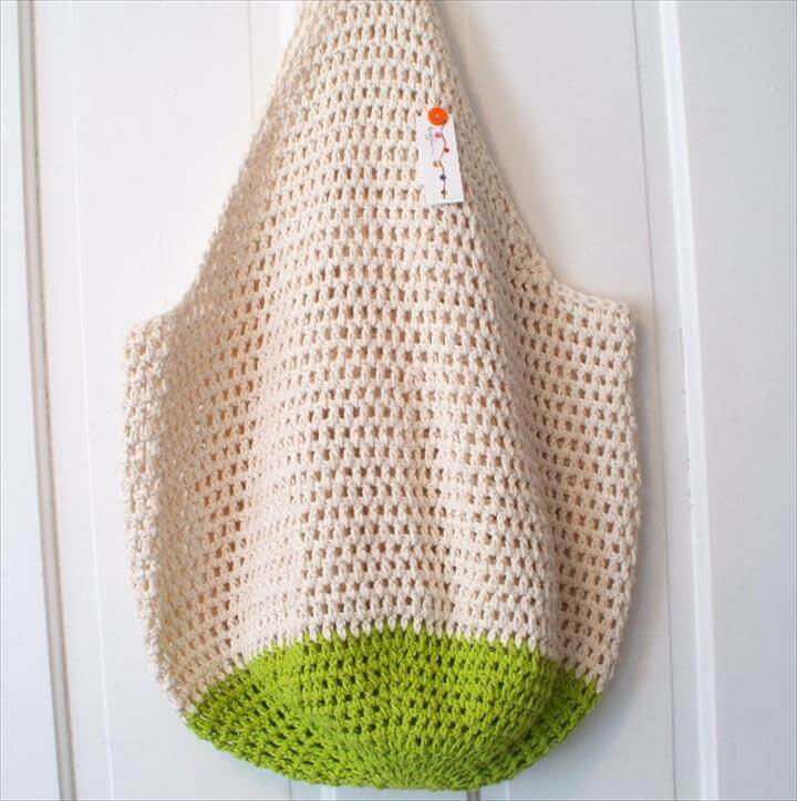 crochet net tote bag