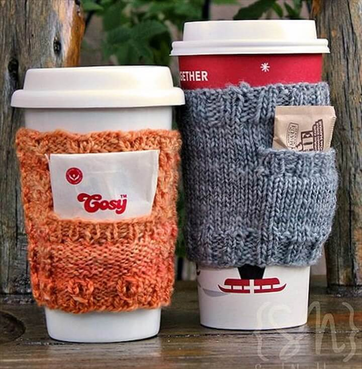 DIY crochet coffee cozy which keep coffee in cups warm while protecting fingers from the heat