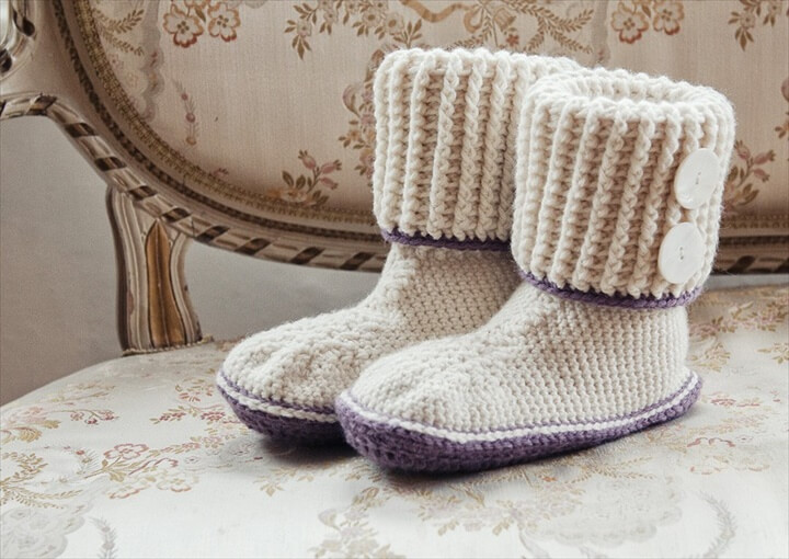 crochet boot slipper for girl's