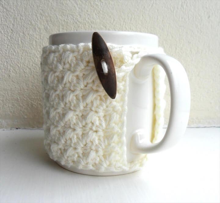 Crochet Mug Cozy Cup Cozy Ivory Cream Yarn Wooden Toggle