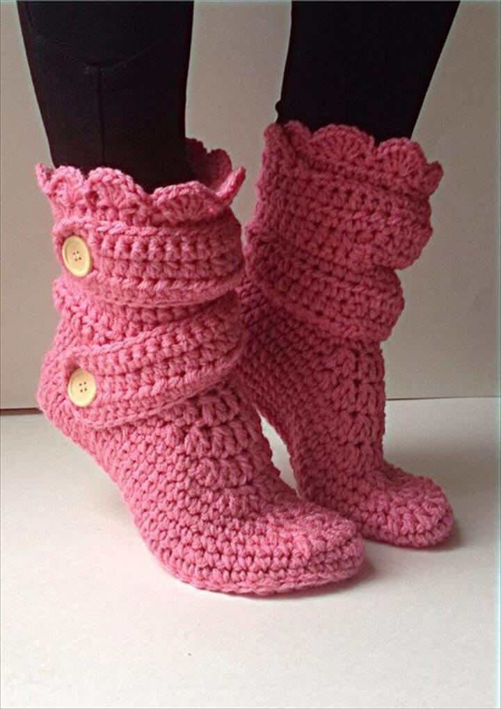 Pink Crochet Slipper Boots Pattern