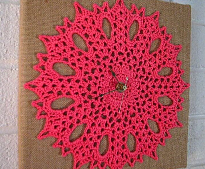 Candy pink flowery crocheted wall clock on burlap board idea: