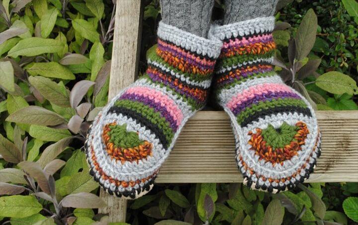 hand made wool crochet slipper boots