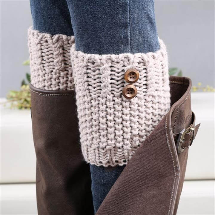 New Women Leg Warmers Fashion Wood Button Knitted Leg Warmers For Boots Knit .