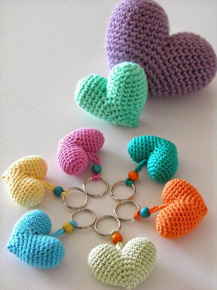 Super easy and quick to crochet these adorable heart ornaments and add a personal touch to your key chains.