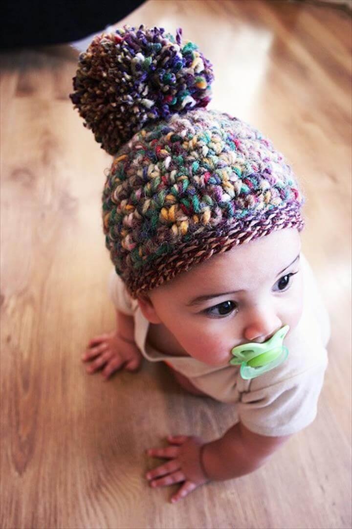 Autumn Hat Pom Pom Baby Hat Elf Beanie