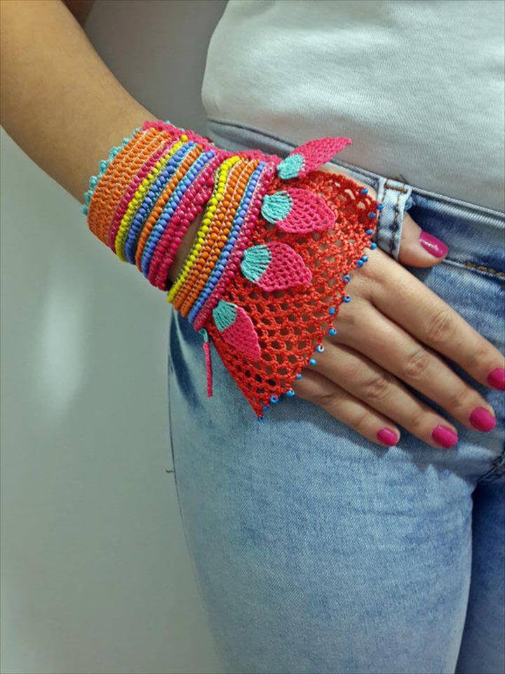 Beaded Crochet Cuff - Turkish Lace - Colorful Beaded Crochet Bracelet and Flower Patterns